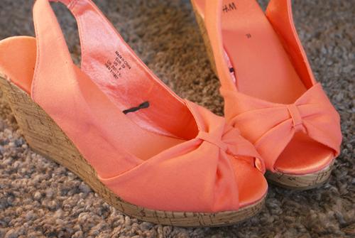 pomarańczowe sandały h&m