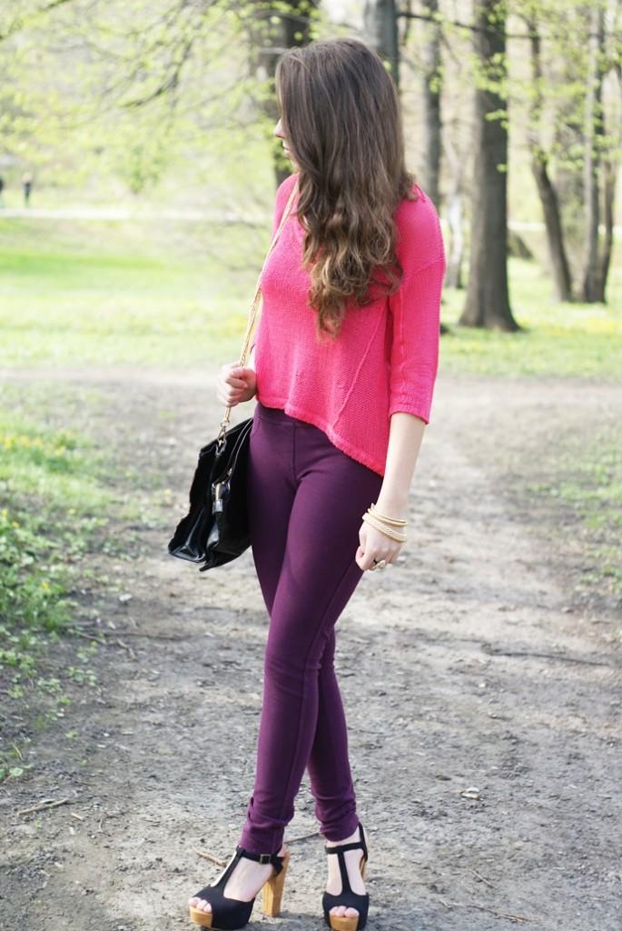 fioletowe spodnie stylizacja