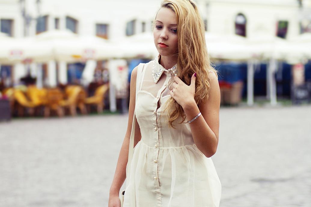 sukienka z kołnierzykiem z perłami romwe