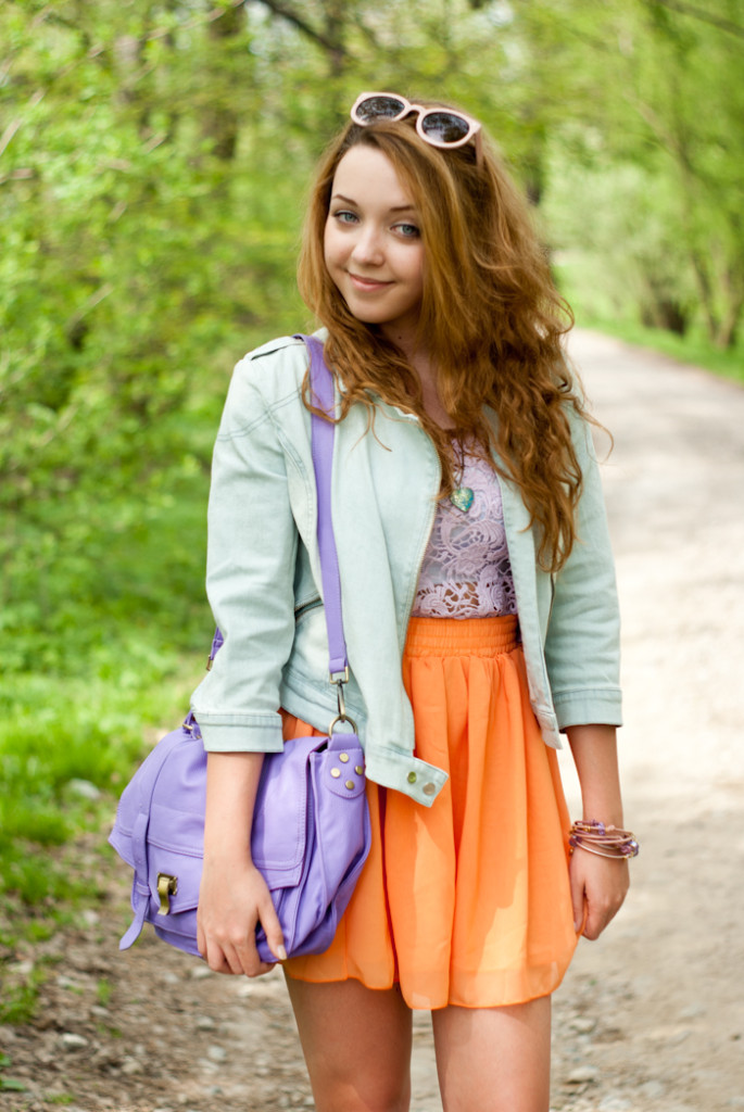 pastel outfit with crochet top
