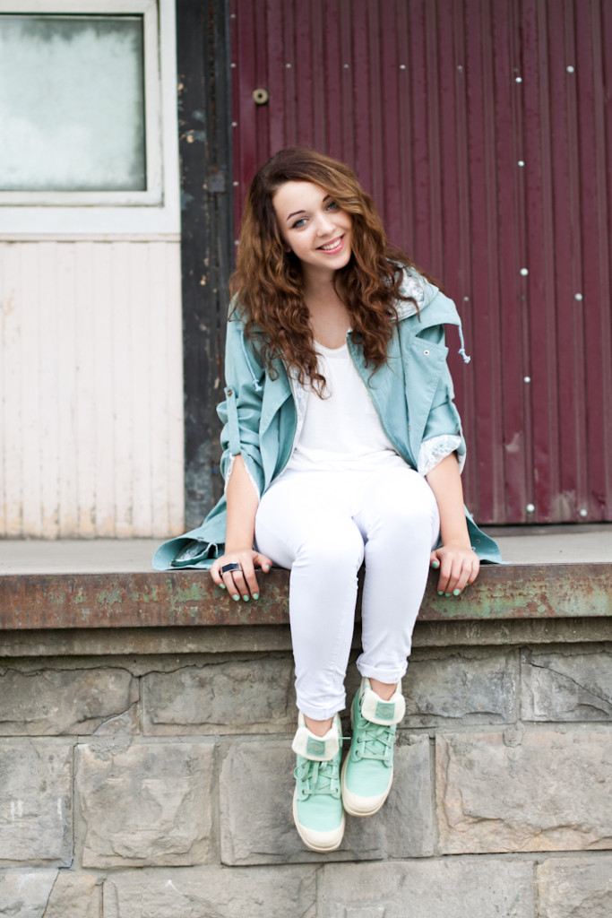 Mint and white outfit