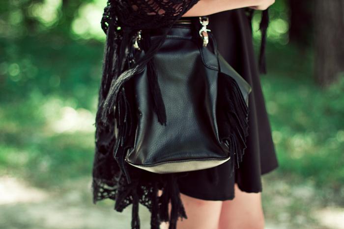 romwe black fringe bag