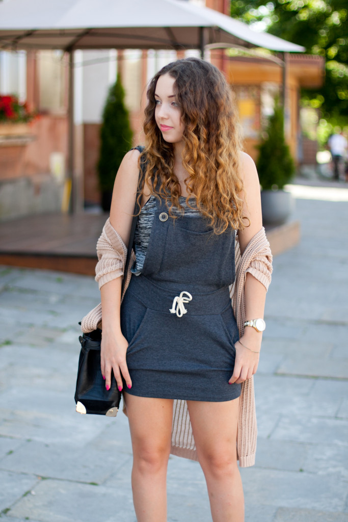 Grey drawstring playsuit
