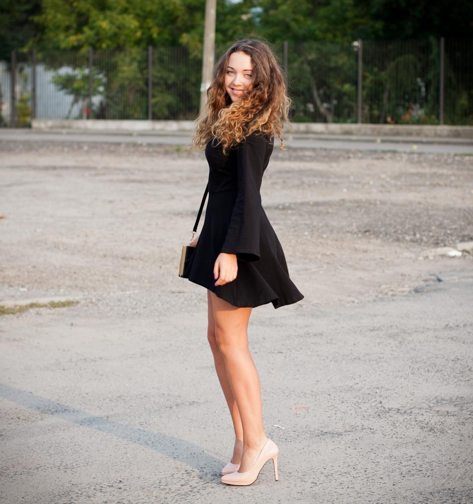 czarna asymetryczna sukienka bal maturalny gimnazjalny