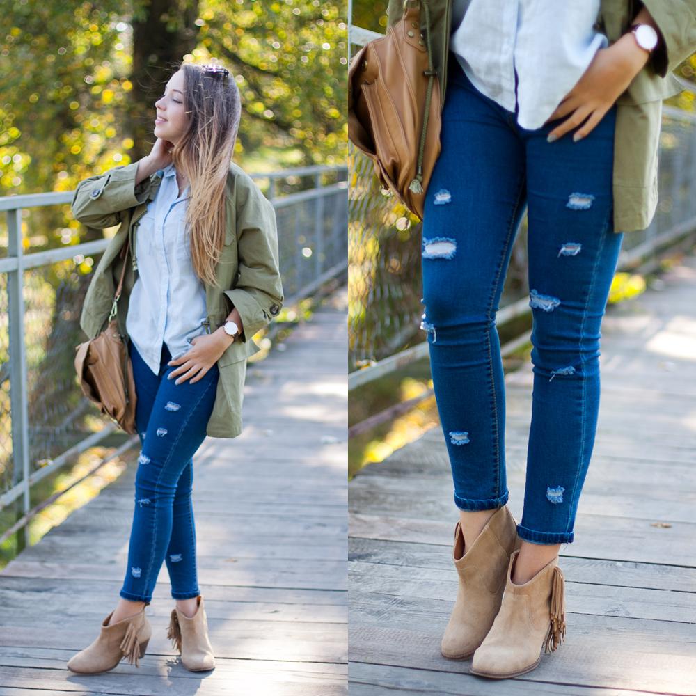dopasowane jeansy rurki sheinside