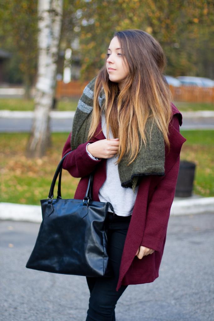 sheinside coat jacket Wine Red Lapel Long Sleeve Loose Knit Cardigan zara scarf szalik zara szal spodnie z wysokim stanem