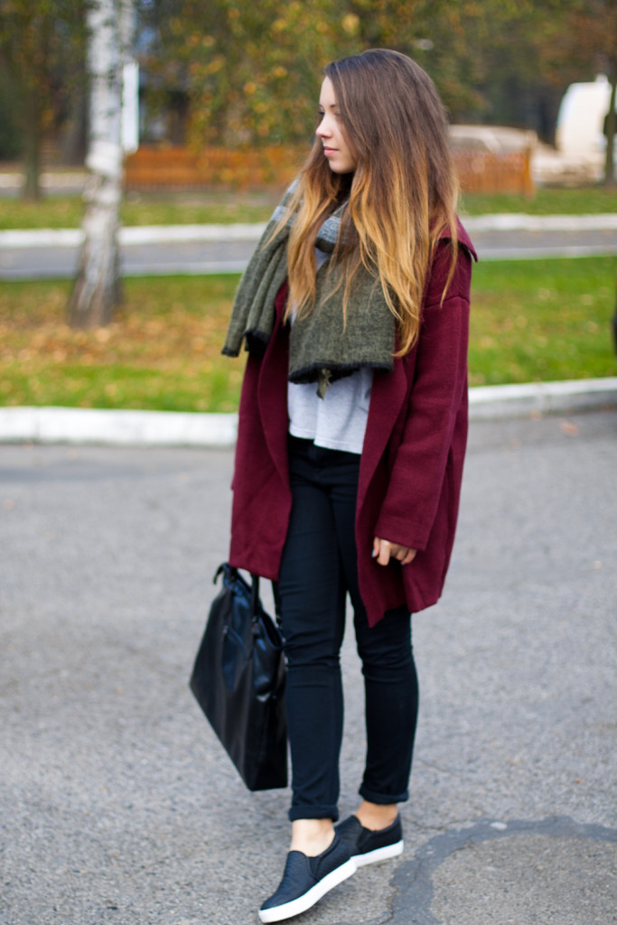 sheinside coat jacket Wine Red Lapel Long Sleeve Loose Knit Cardigan zara scarf szalik zara szal spodnie z wysokim stanem