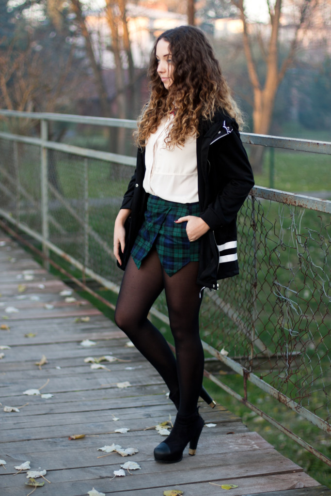 look with checked shorts fashion blog