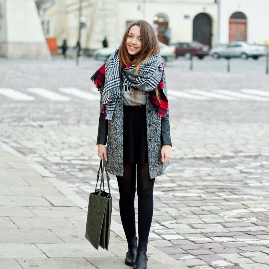 Leather & wool coat