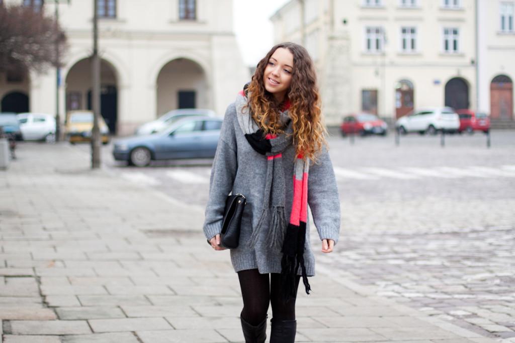 Długi szary sweter H&M, long grey sweater