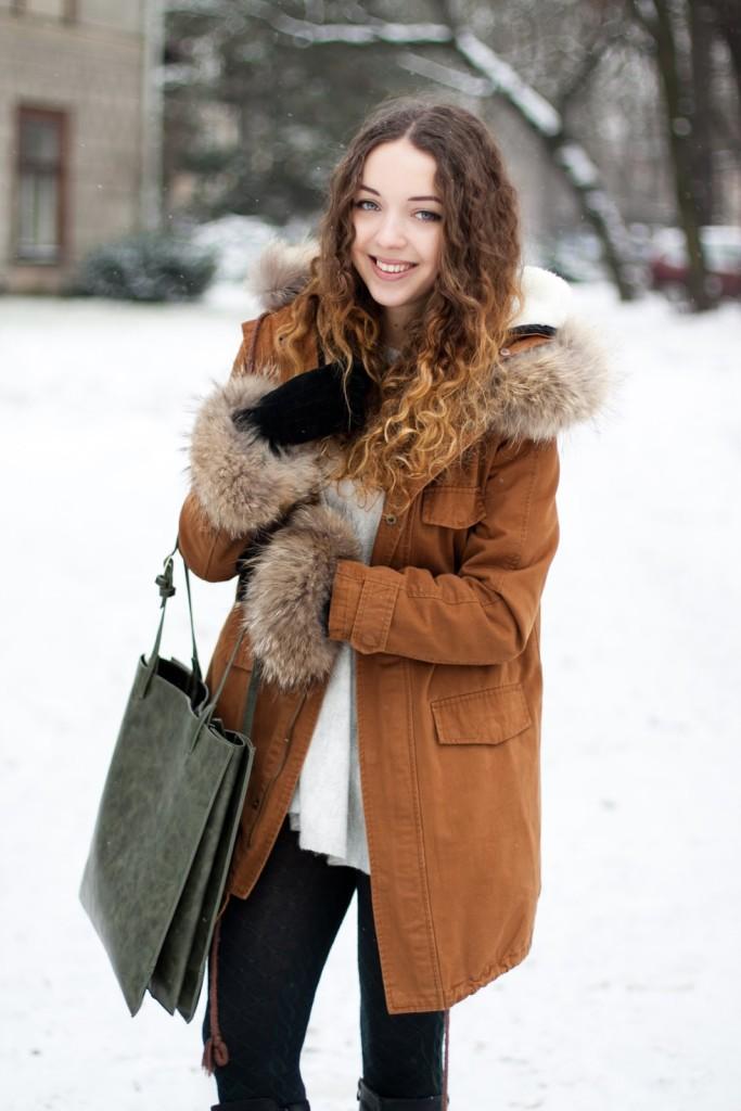 brązowa parka Sheinside brown coat