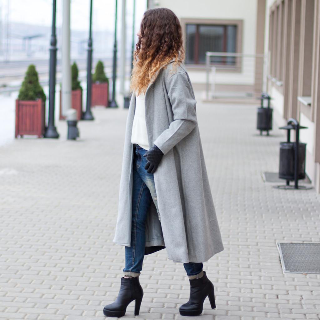 długi szary płaszcz sheinside