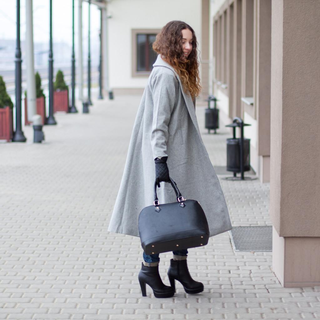 long grey coat sheinside długi szary płaszcz