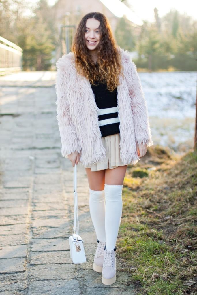 light pink fur romwe