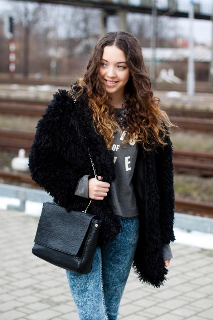 black sheinside fur
