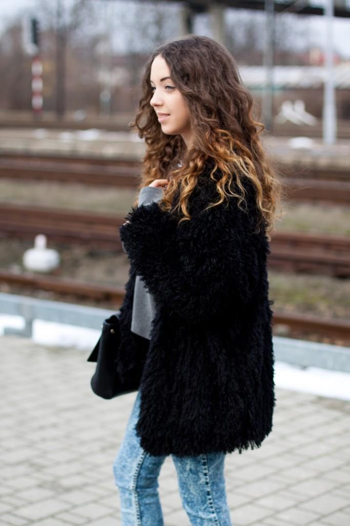 czarne futro sheinside