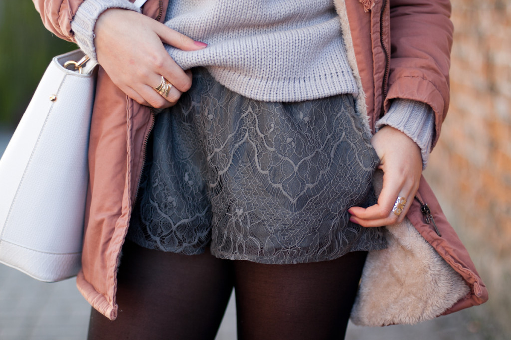 lace grey shorts sheinside