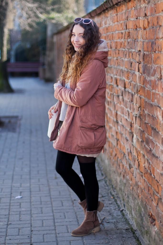 pink coat sheinside