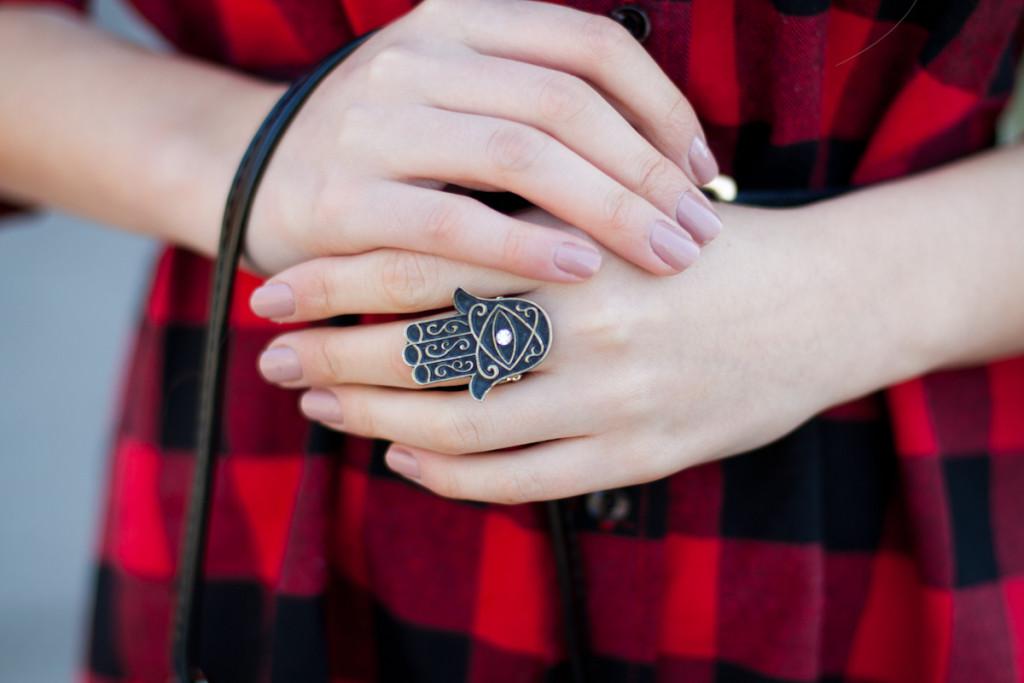 hamsa ring pierścionek
