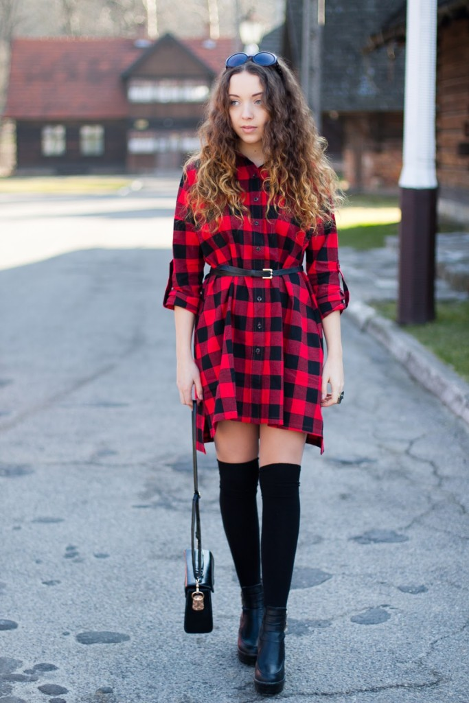 look with checked dress