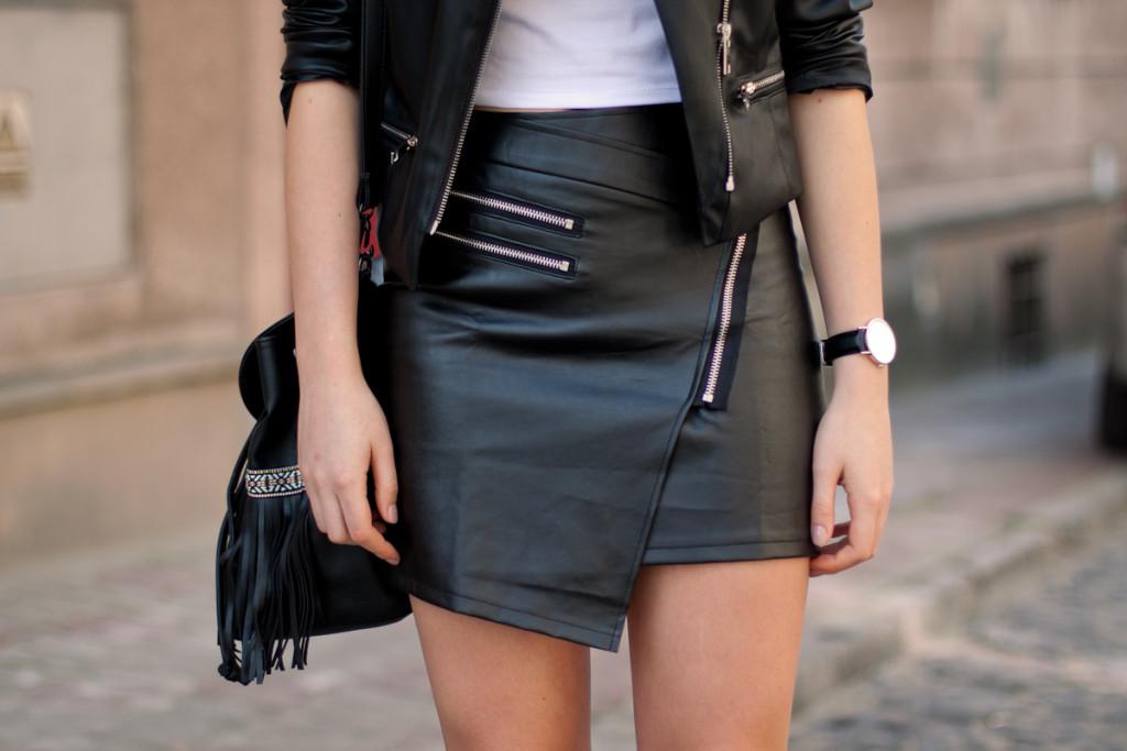 leather zip skirt choies