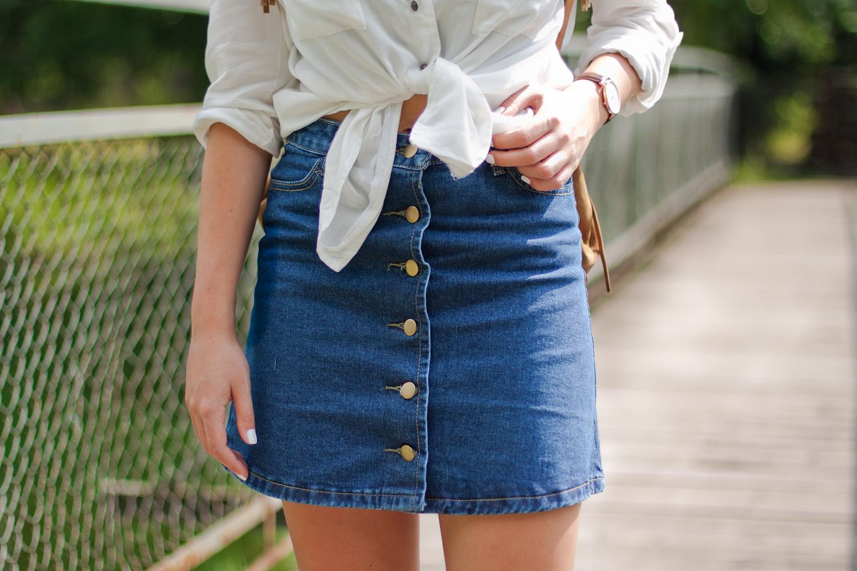 Plecak z frędzlami + jeansowa spódnica