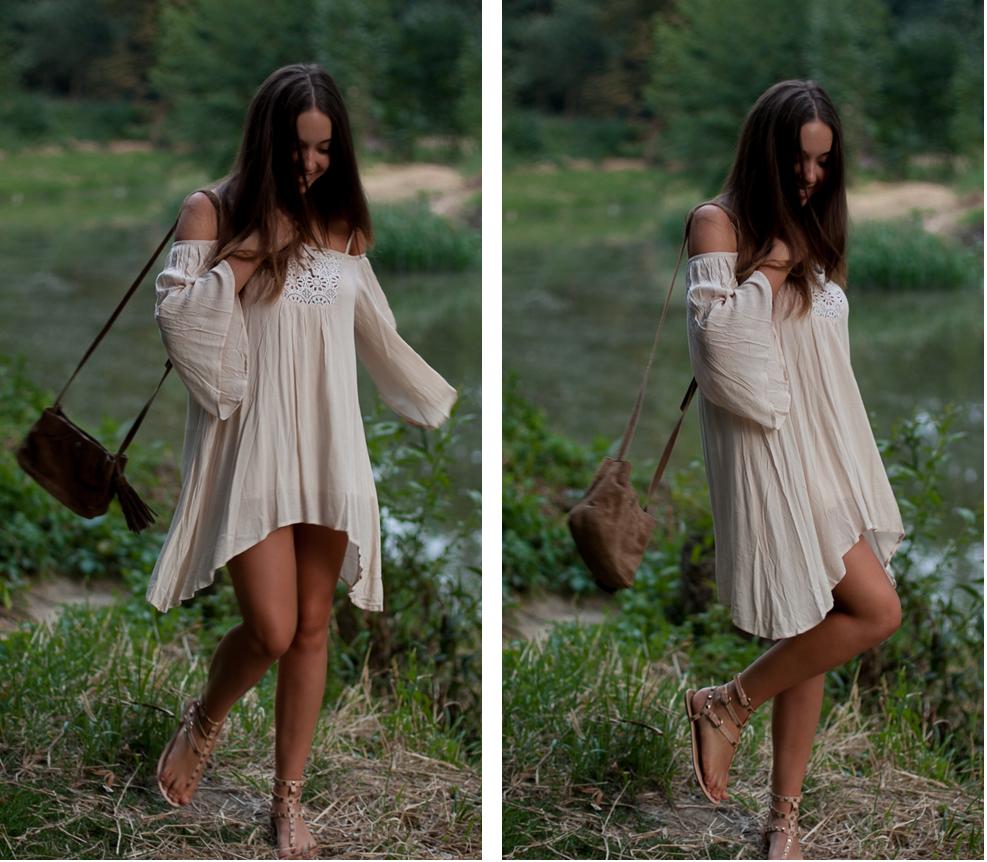 boho sukienka i torebka z frędzlami