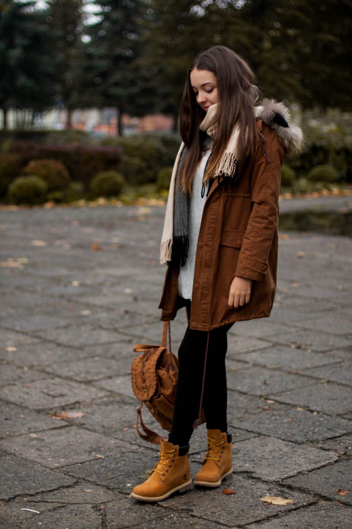 eleganckie buty najniższa cena Nowa lista Timberland - miodowe buty w stylizacji na jesień