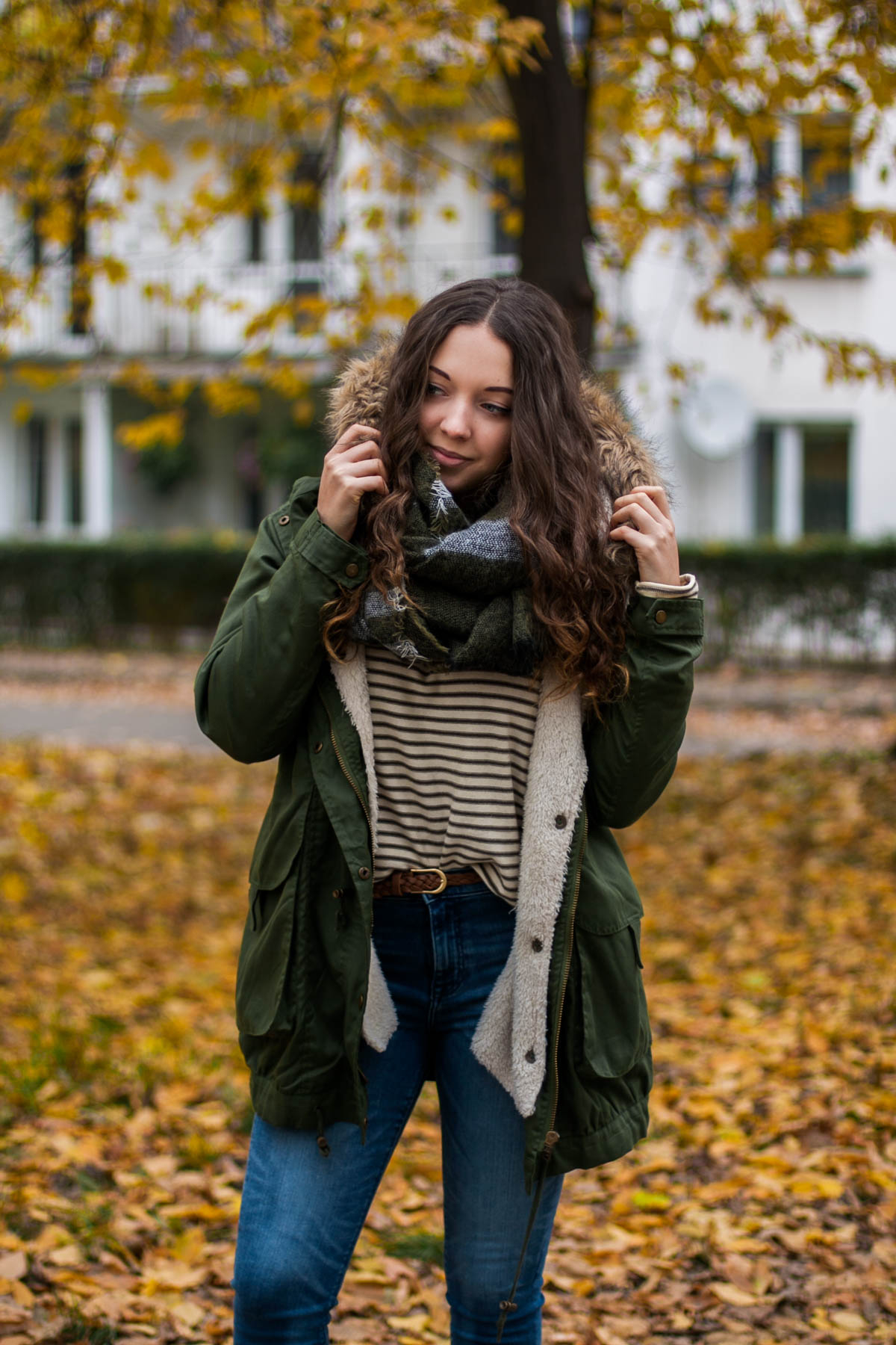 timberlandy jesienna kurtka parka i jeansy