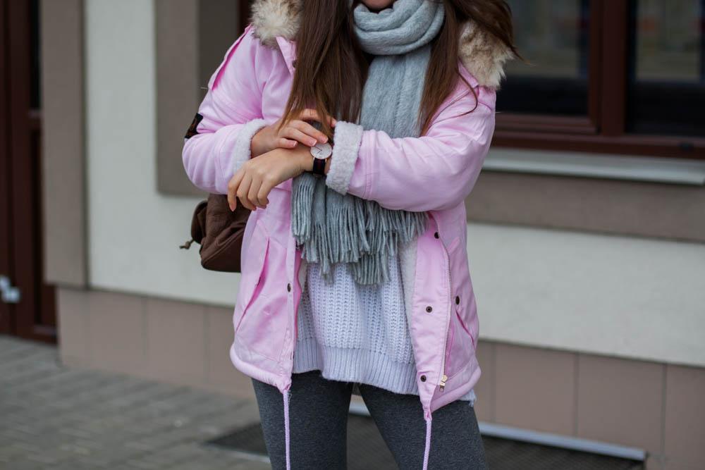 Różowa parka zimowa romwe sheinside zegarek daniel wellington