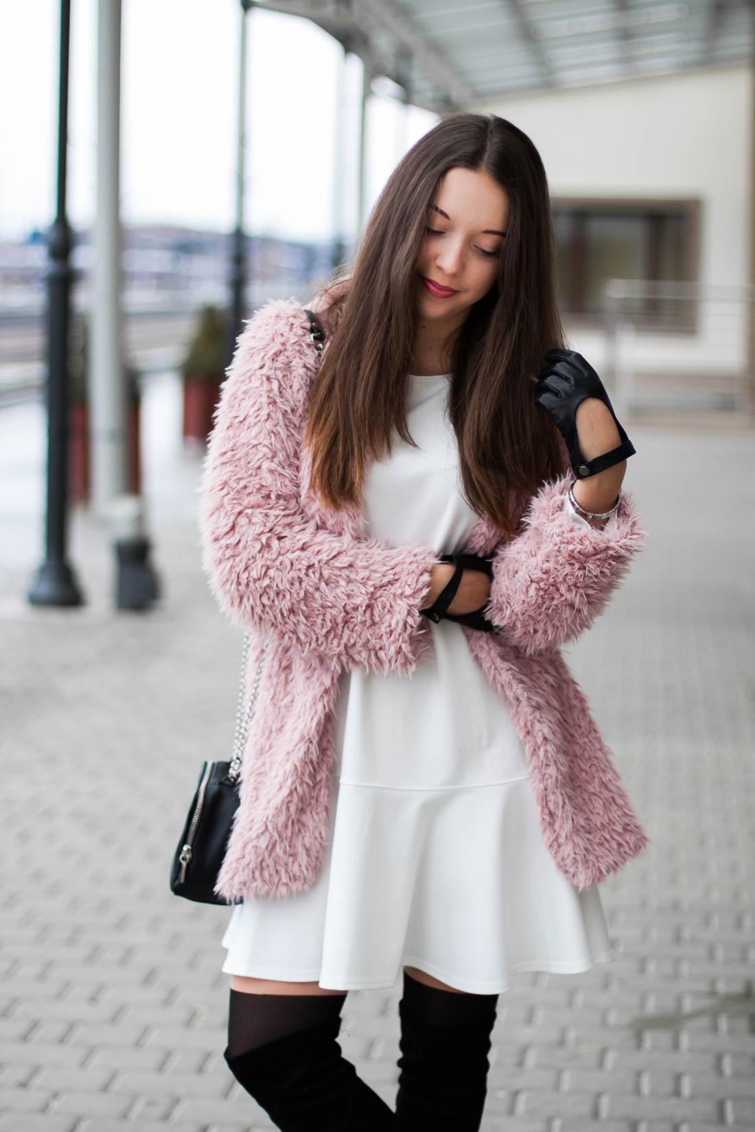 różowy płaszcz futro sheinside