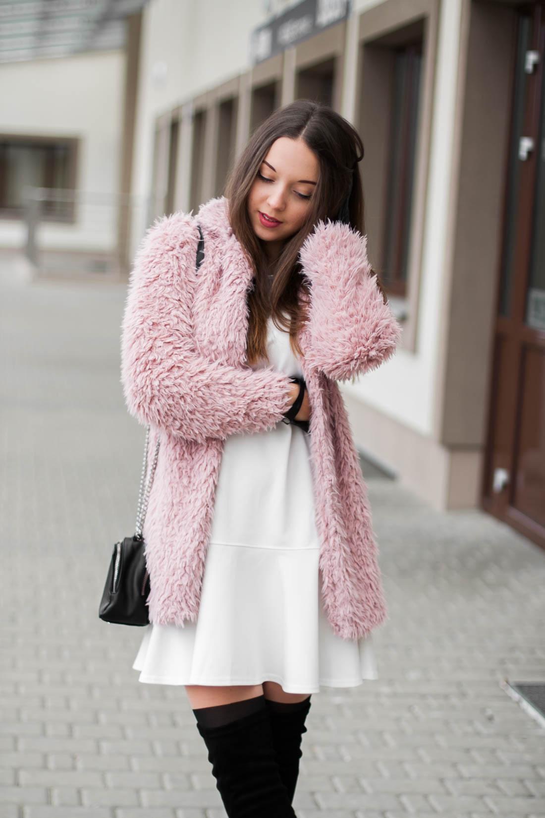 różowe futro sheinside