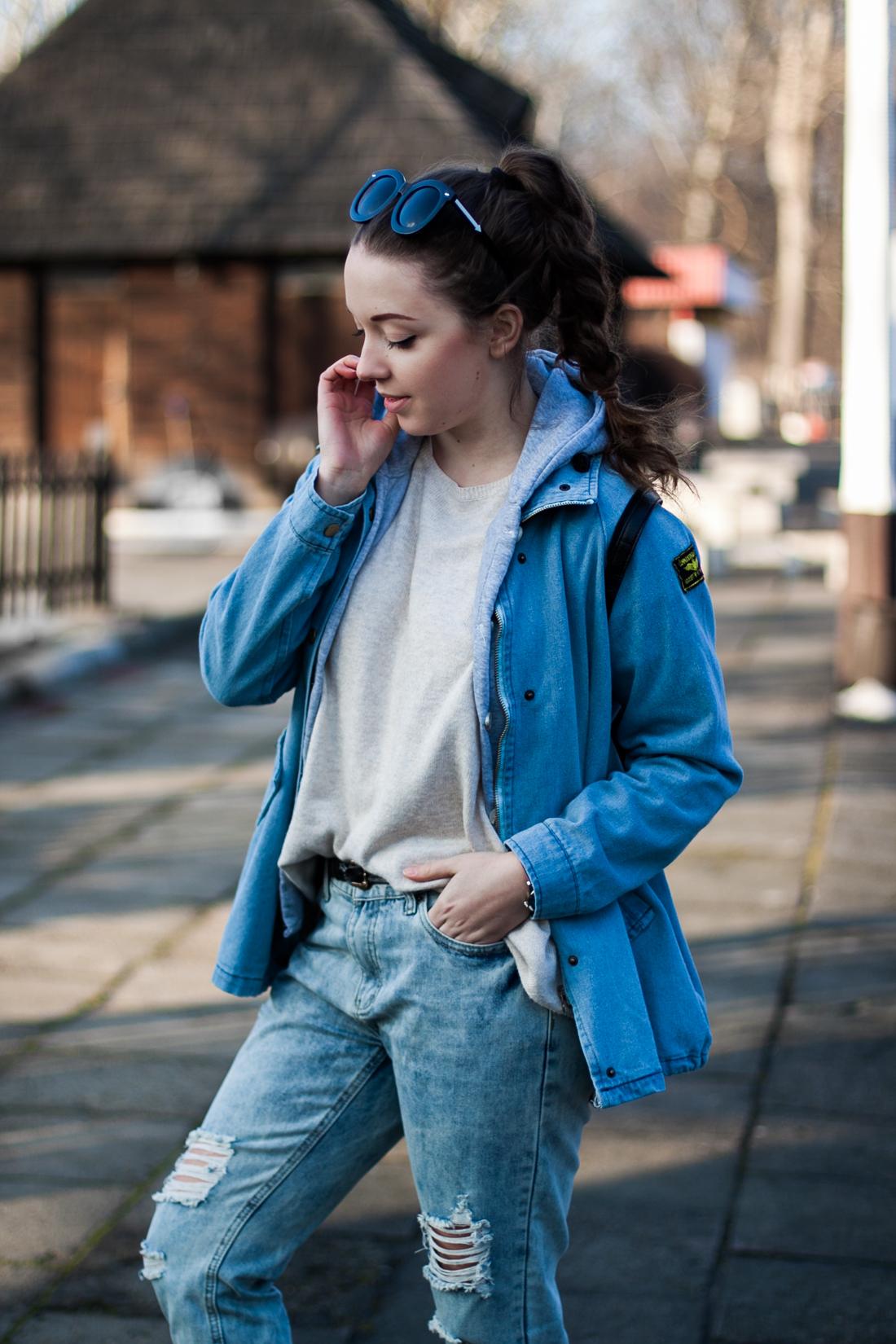 Jeansowa kurtka stylizacja sheinside