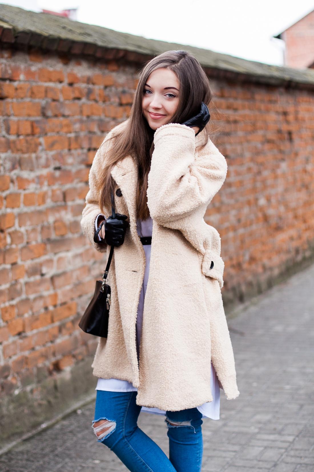 Beżowy płaszcz oversize Sheinside Stylizacja
