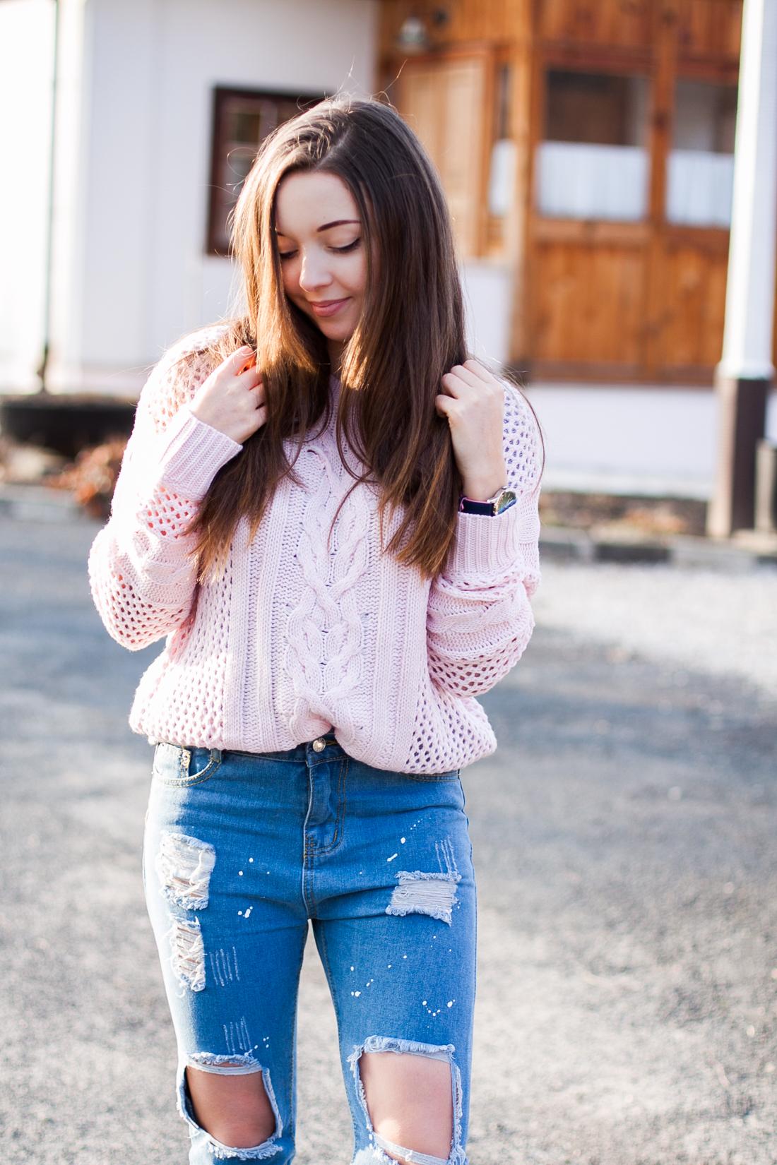 różowy pastelowy sweter sheinside
