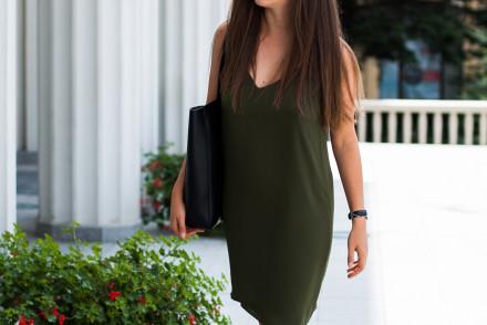 Delikatna oliwkowa sukienka dorothy perkins na cienkich ramiączkach Stylizacja