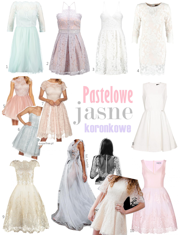 Sukienka na wesele jaką kupić pastelowa koronkowa jasna sukienka