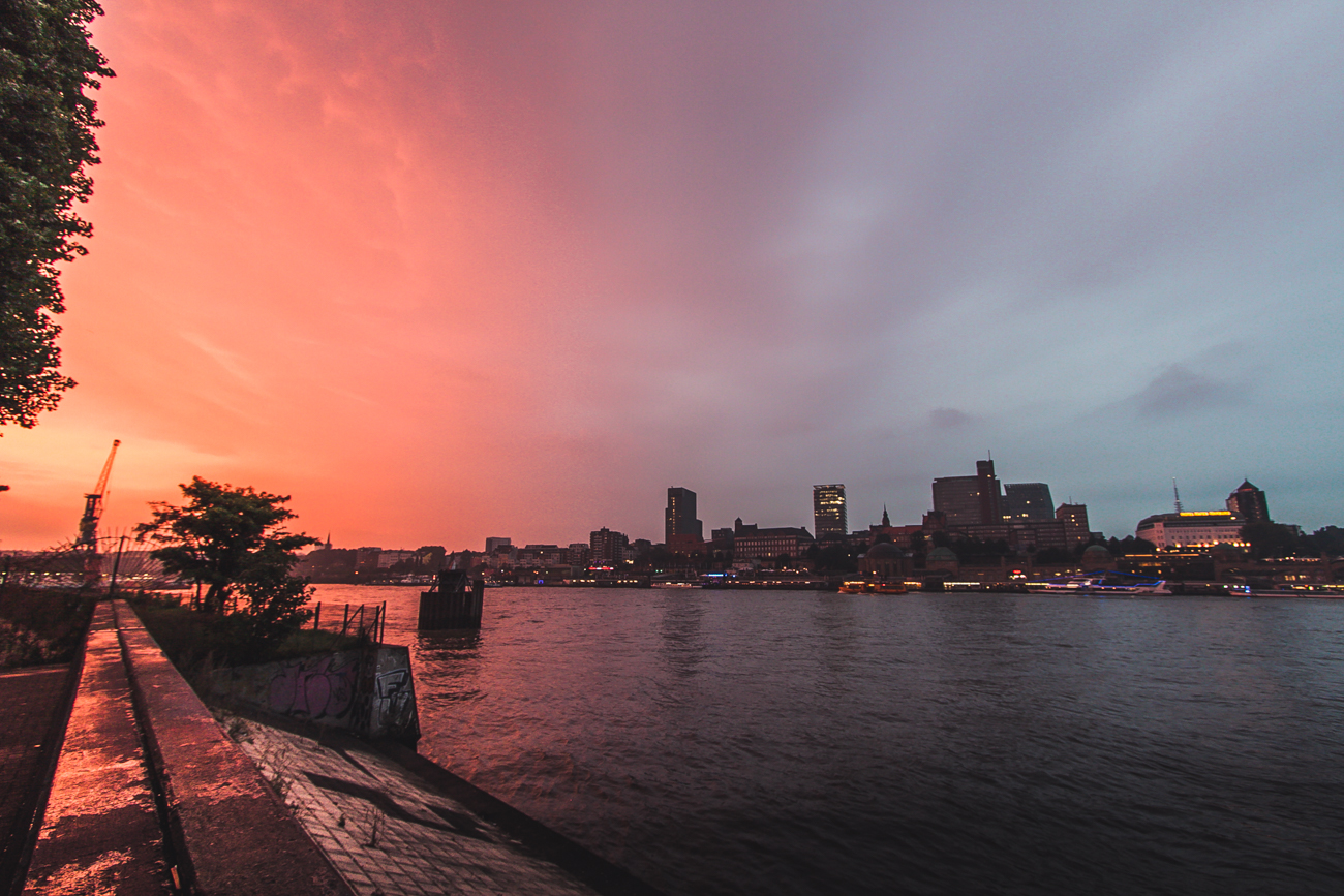 Łaba Hamburg zachód słońca