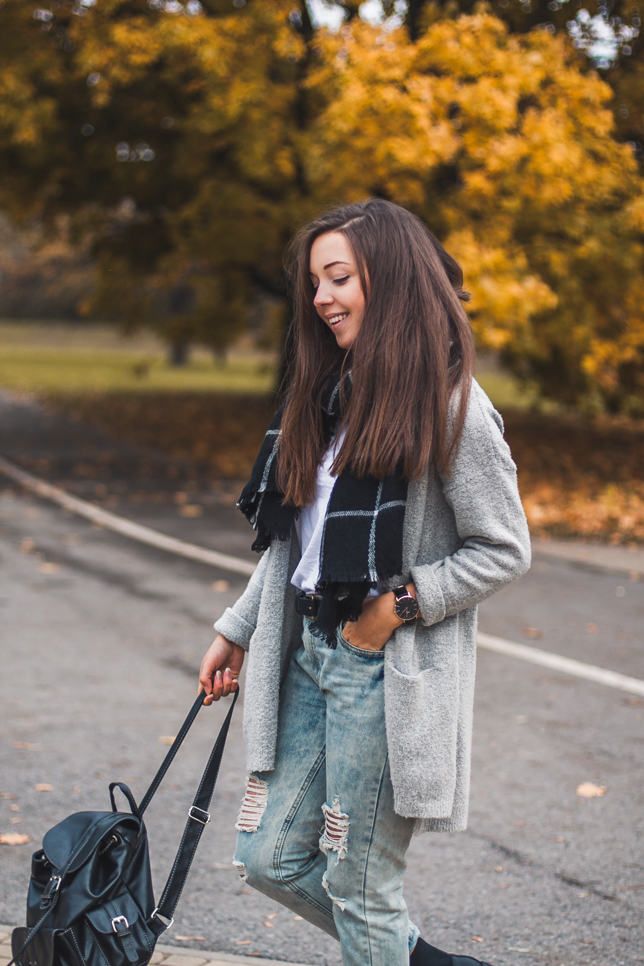 spodnie Boyfriendy stylizacja jesienna