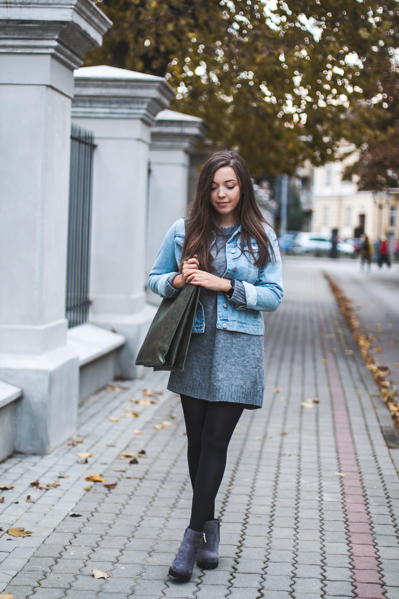szary sweter idealny jesień stylizacja