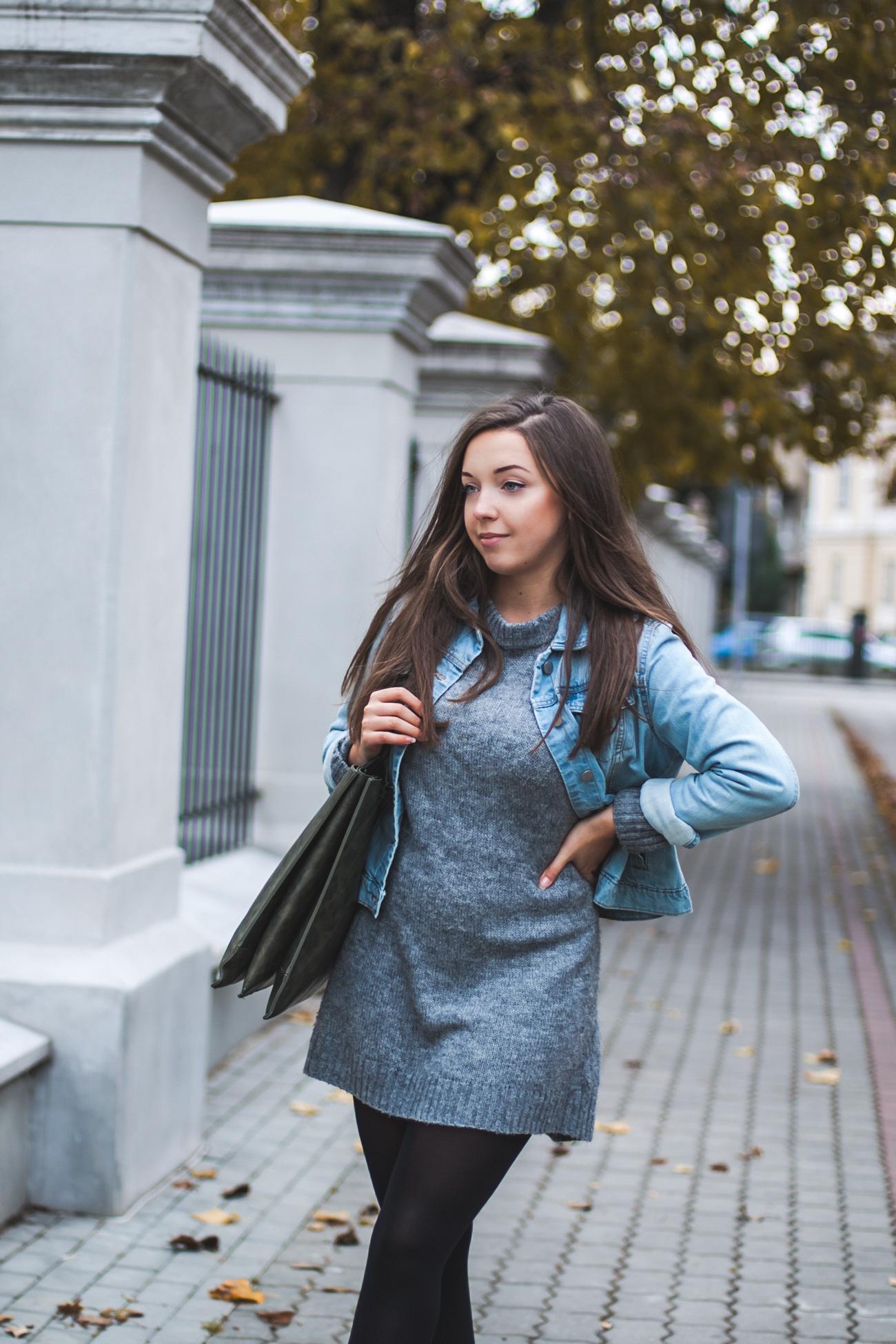 szary sweter idealny blog stylizacja