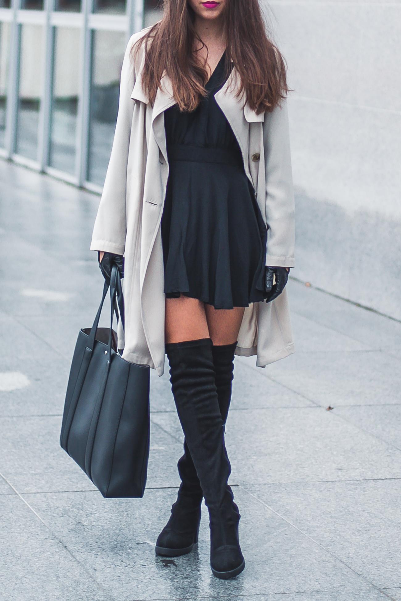 czarne kozaki za kolano deezee stylizacja