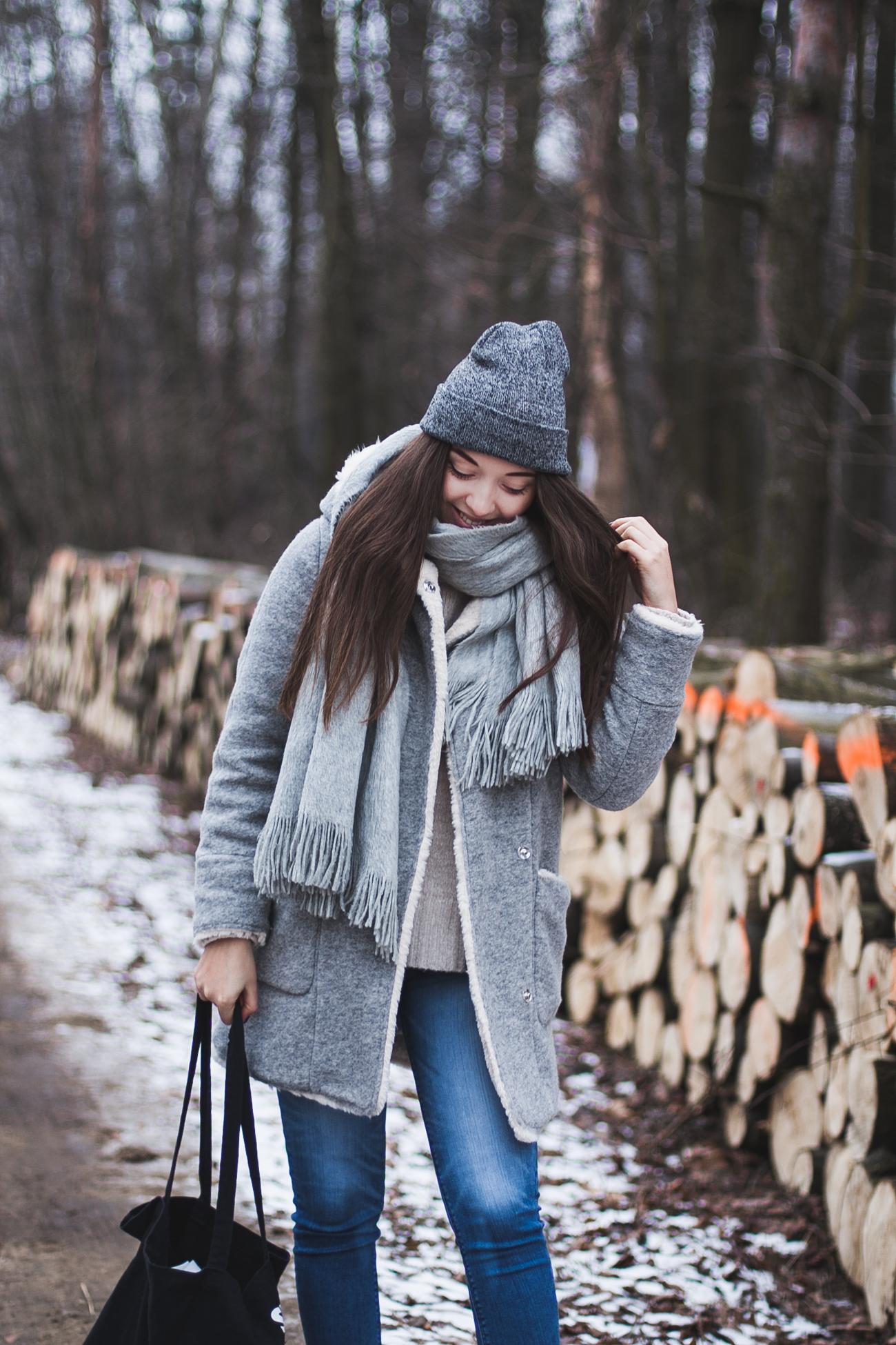 płaszcz baranek zara stylizacja