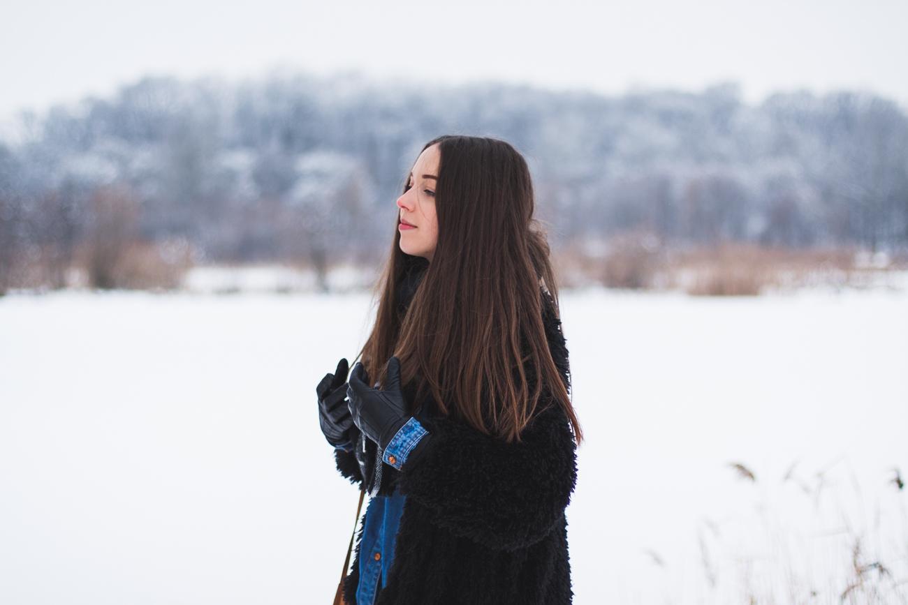 zimowa stylizacja futro