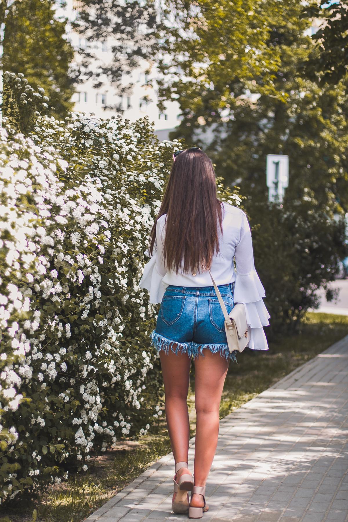 jeansowe szorty blog modowy stylizacja