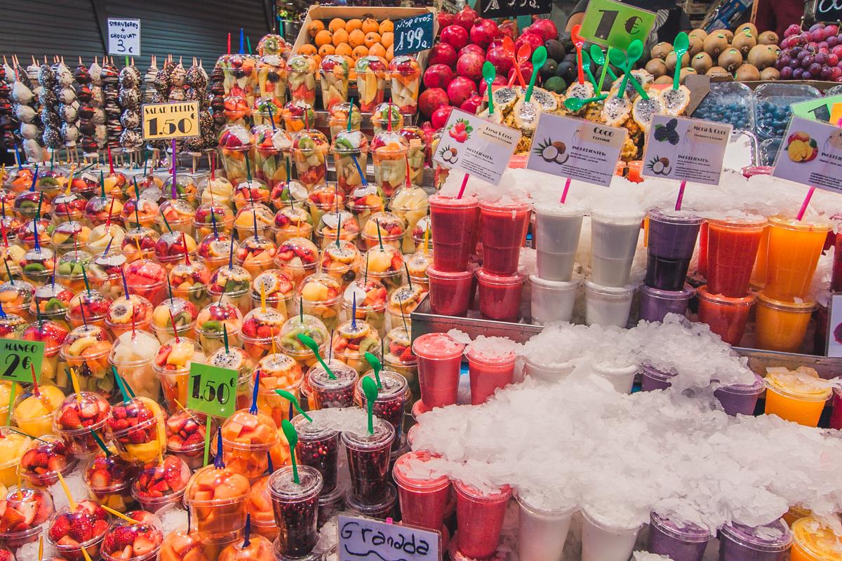 soki owocowe świeże La Boqueria barcelona