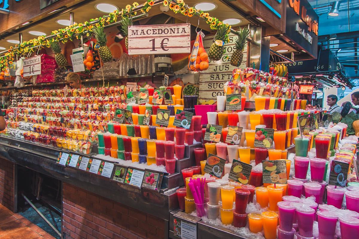 świeże soki owocowe La Boqueria barcelona