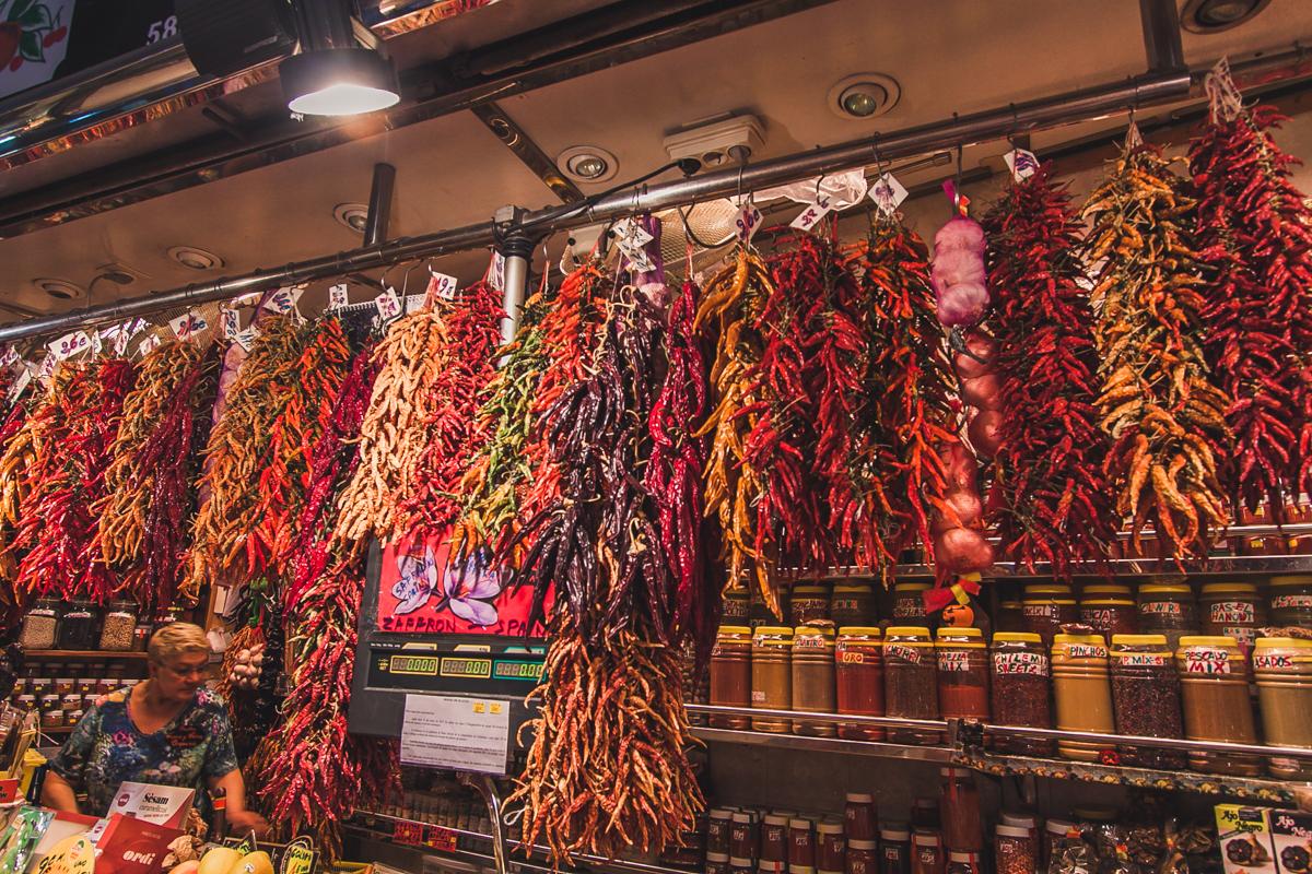 suszone papryczki chilli La Boqueria barcelona