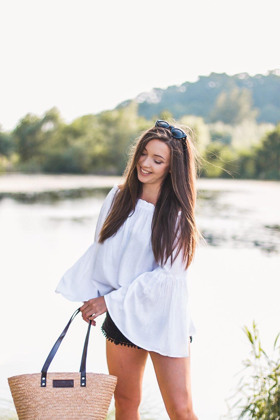 Biała bluzka hiszpanka stylizacja blog