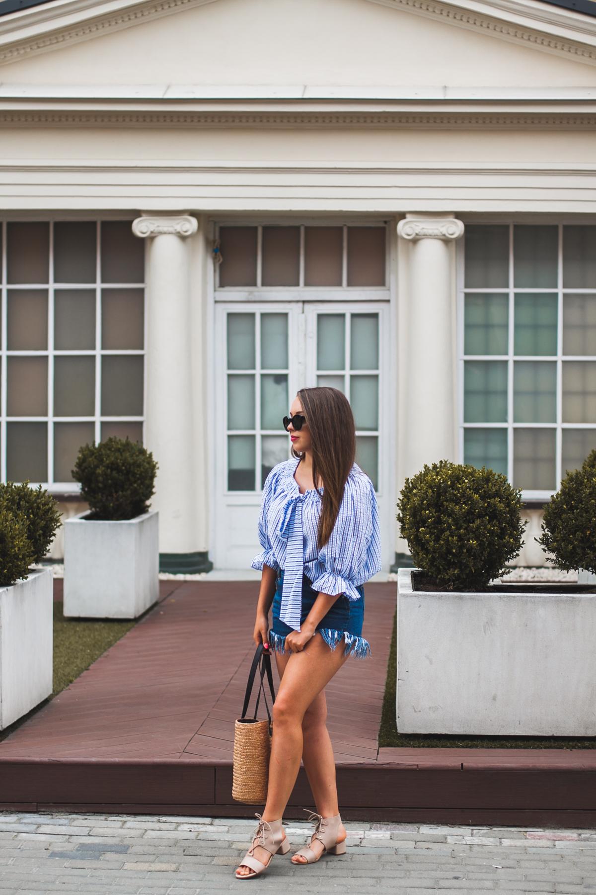 koszula w paski niebiesko białe